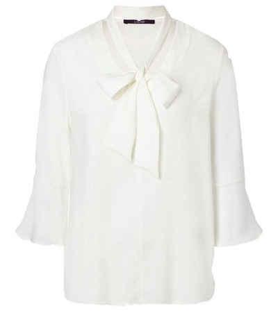 Laurèl Blusentop »Laurél Semitransparente Bluse schicke Damen Langarm-Bluse mit abnehmbarer Schluppe Business-Bluse Weiß«