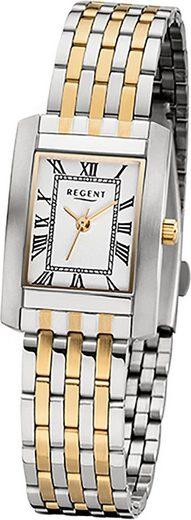 Regent Quarzuhr »D2URF1052 Regent Edelstahl Damen Uhr F-1052 Quarz«, (Quarzuhr), Damenuhr mit Edelstahlarmband, eckiges Gehäuse, klein (ca. 21mm), Elegant-Style