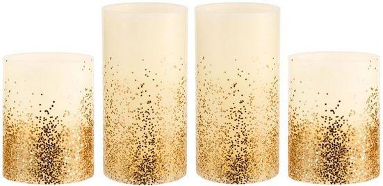 Pauleen LED-Kerze »Golden Glitter« (Set, 4-tlg), Wachskerze, Time, elfenbein/Glitzer goldfb.