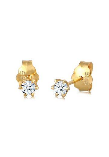 Diamore Paar Ohrstecker »Elegant Klassisch Diamant (0.12 ct) 585 Gelbgold«