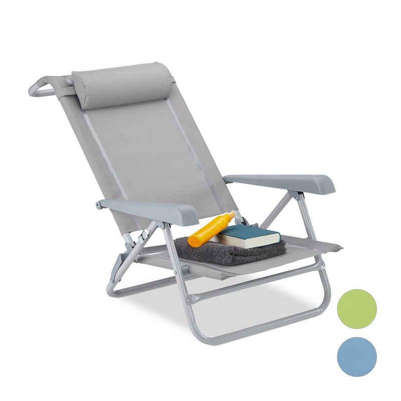 relaxdays Gartenstuhl »Klappbarer Liegestuhl mit Nackenkissen«