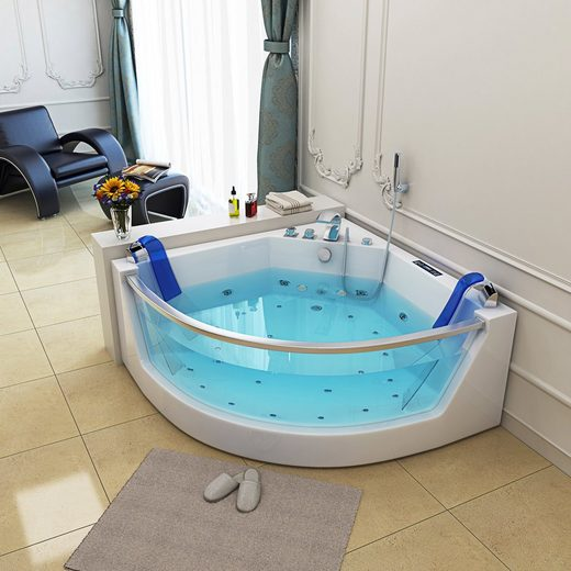 HOME DELUXE Whirlpool-Badewanne »Cadiz L«, (6-tlg), B/T/H in cm: 141/141/62, Selbstreinigungsverfahren