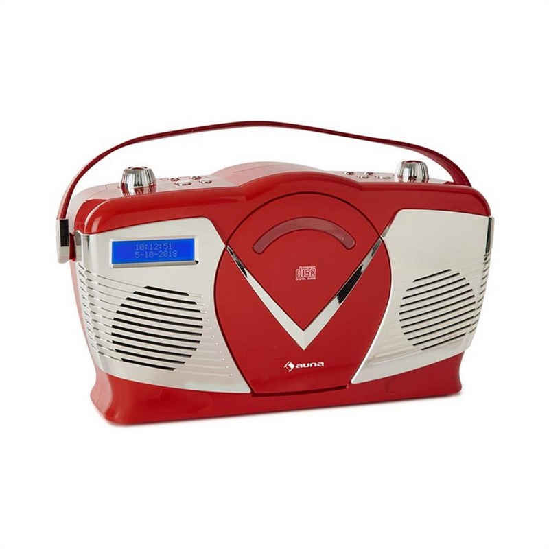 Auna »RCD-70 DAB Retro CD-Radio UKW DAB+ CD-Player USB Bluetooth rot« CD-Player (0 W)