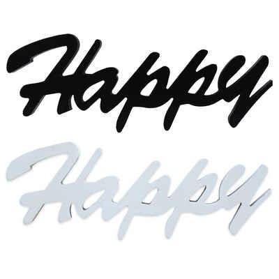 Mucola Deko-Buchstaben »Dekoschild Happy in Schwarz oder Weiß MDF Holz Schild Aufhängen Holzschrift Wanddeko MDF Holz Deko Schriftzug Buchstaben Holzbuchstaben Monogramm Tischdeko« (Premium-Dekoschild)