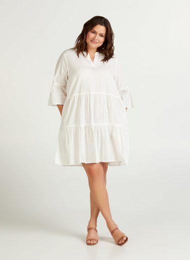 ZAY Tunikakleid Große Größen Damen Kleid mit 3/4 Ämeln und V Ausschnitt
