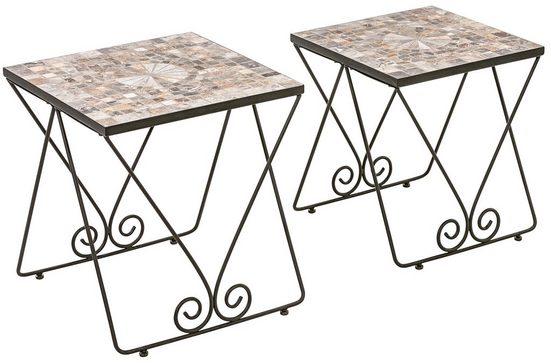 Dehner Gartenstuhl »Beistelltisch 2er-Set Grazia mit Mosaik, Eisen«