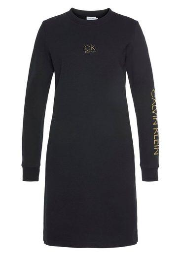 Calvin Klein Sweatkleid »CK GOLD LOGO LS SWEAT DRESS« mit goldfarbenen Calvin Klein Logo-Schriftzügen
