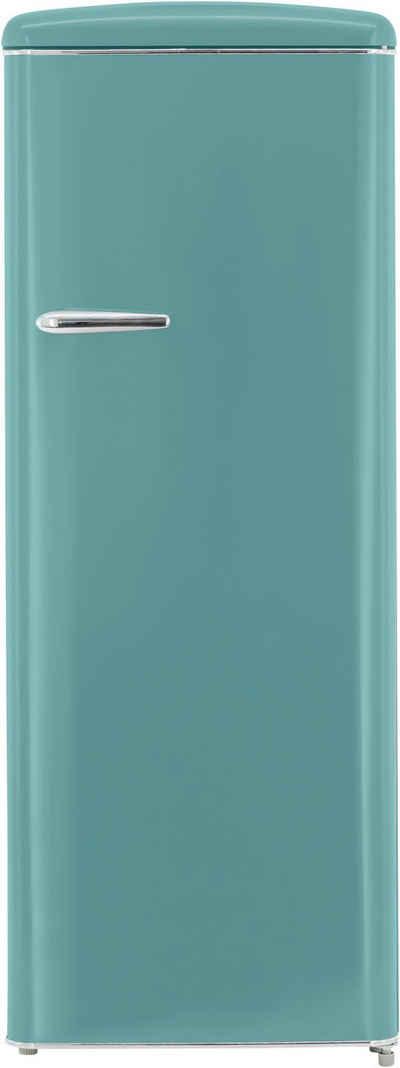 exquisit Kühlschrank RKS325-V-H-160F taubenblau, 144 cm hoch, 55 cm breit