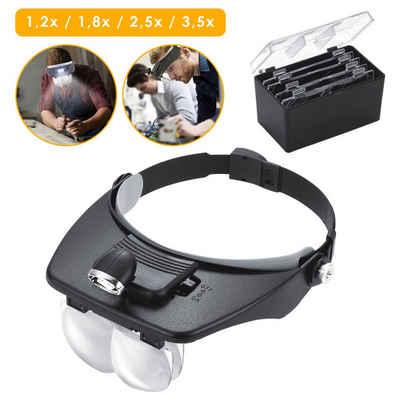 Einfeben Lupenbrille »Led Kopfband Lupen Lampe Stirnband Brille Lupen für Lesen, Juweliere und Reparieren, 4 Austauschbare Linsen 1.2X, 1.8X, 2.5X, 3.5X«