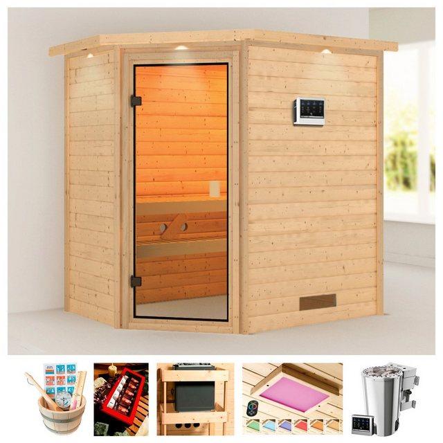 Saunen und Zubehör - KARIBU Sauna »Rügen 3«, 223x159x191 cm, 3,6 kW Plug Play Bio Ofen Strg., Dachkranz  - Onlineshop OTTO