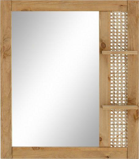 Home affaire Spiegel »Roan«, aus Kiefer massiv mit Rattan-Einsatz, Breite 61 cm