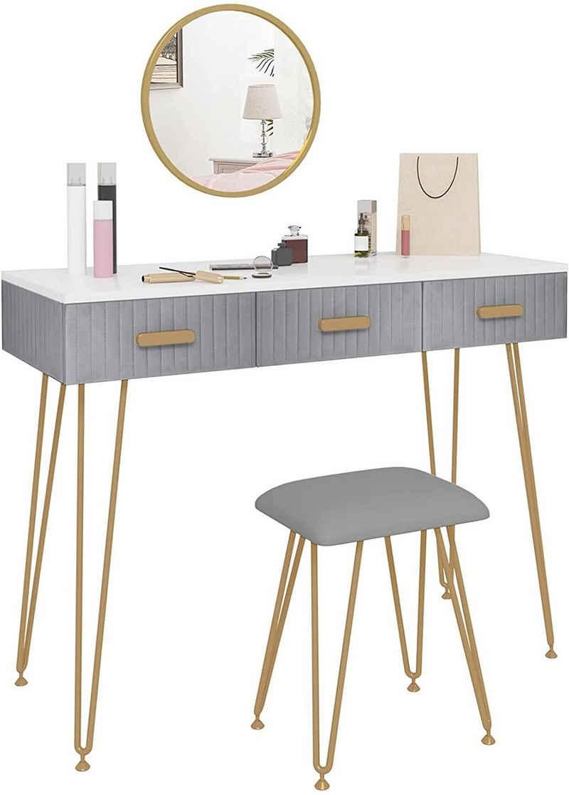Woltu Schminktisch »MB6080« (1-St), Frisiertisch mit Hocker Spiege, mit Schubladen Große Tischplatte 100x40cm, Modern Kosmetiktisch für Schlafzimmer