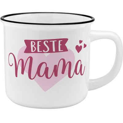 "Sheepworld Tasse »Lieblingsbecher ""Beste Mama"" - Porzellanbecher in Emaille-Optik«, Ideale Geschenkidee"