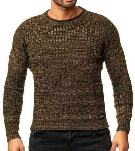 Rusty Neal Rundhalspullover »RUSTY NEAL Pullover figurbetonter Herren Sweater Rundhals Sweatshirt Trendpullover Khaki«
