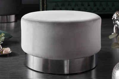 riess-ambiente Sitzhocker »MODERN BAROCK 55cm silbergrau / silber«, Hocker · Samt · Metall · Couchtisch