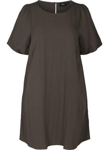 Zizzi A-Linien-Kleid Große Größen Damen Kurzarm Kleid aus Viskose mit A-Linie
