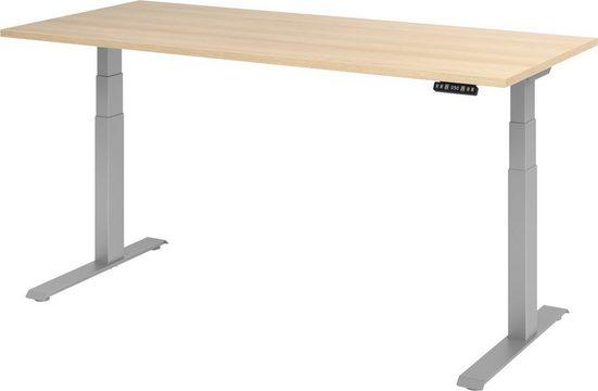 bümö Schreibtisch »OM-XDKB19«, elektrisch höhenverstellbar mit Memoryfunktion - Rechteck: 180x80 cm - Dekor: Eiche