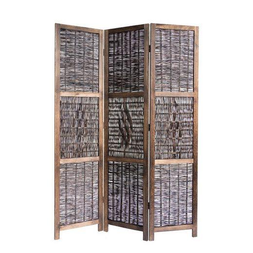 Homestyle4u Paravent »3 fach Raumteiler Holz braun mit Weide Sichtschutz«
