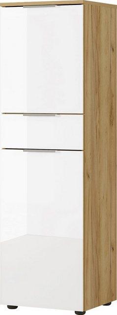 Badezimmer Sets - GERMANIA Badmöbel Set »Avino«, (5 St), Spiegelschrank inkl. LED Beleuchtung, Glasfronten, Soft Close Funktion  - Onlineshop OTTO