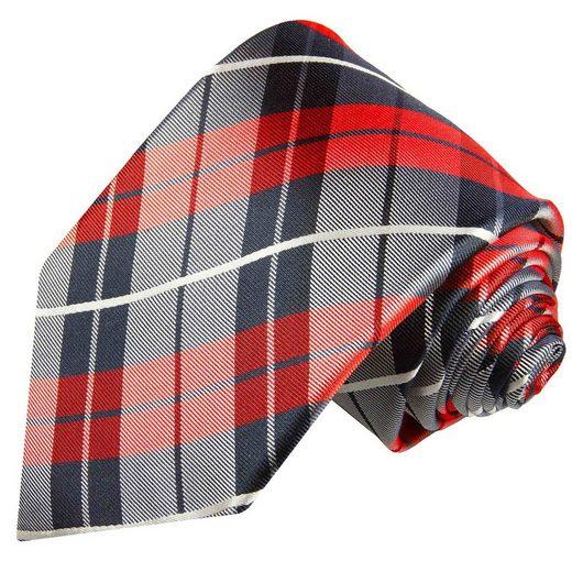 Paul Malone Krawatte »Designer Seidenkrawatte Herren Schlips modern Plaid Schottenmuster 100% Seide« Schmal (6cm), rot dunkelblau 592