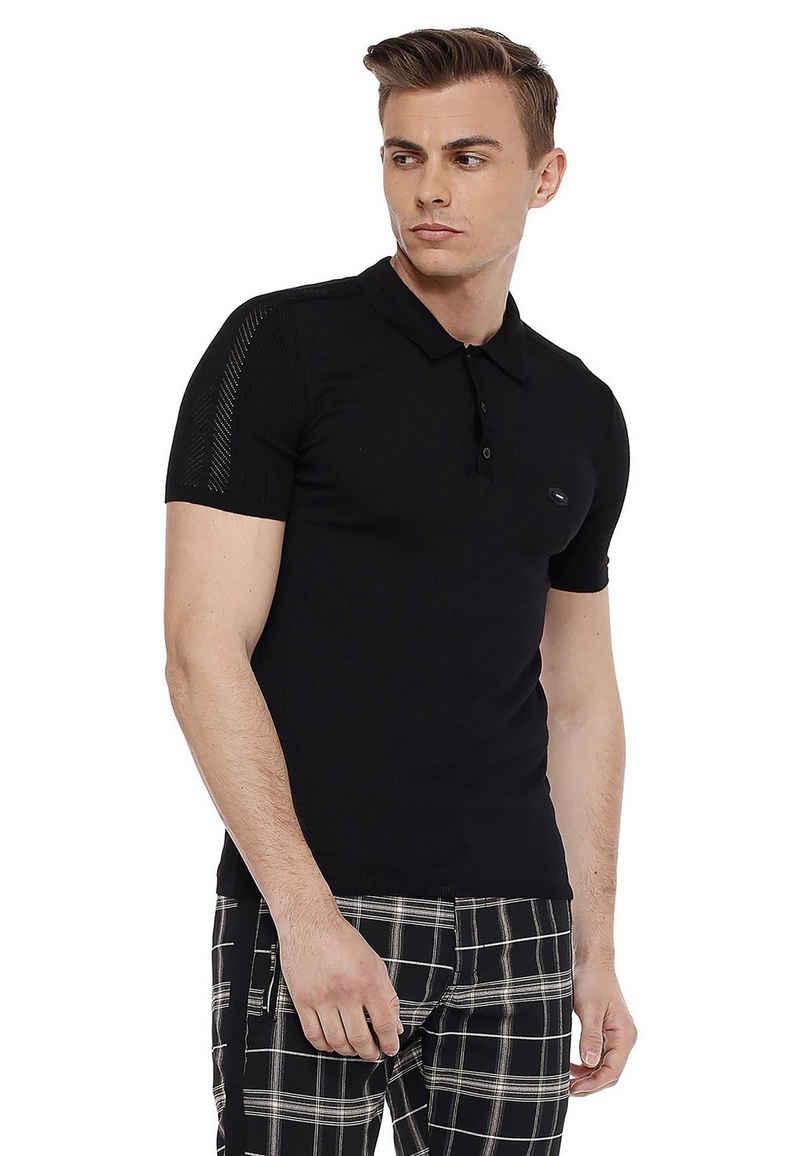 Cipo & Baxx Poloshirt in Flecht-Optik