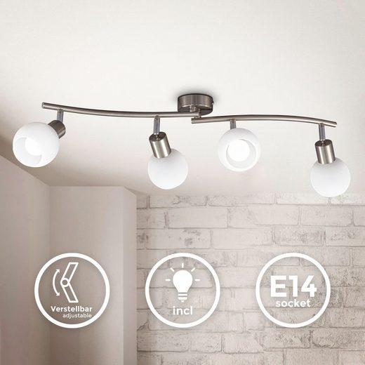 B.K.Licht LED Deckenspot »BKL1368«, schwenkbare LED Deckenlampe mit Glasschirm, warmweiße Lichtfarbe, 4x 5W, 3.000 K, E14, 4x 470lm, 4-flammig