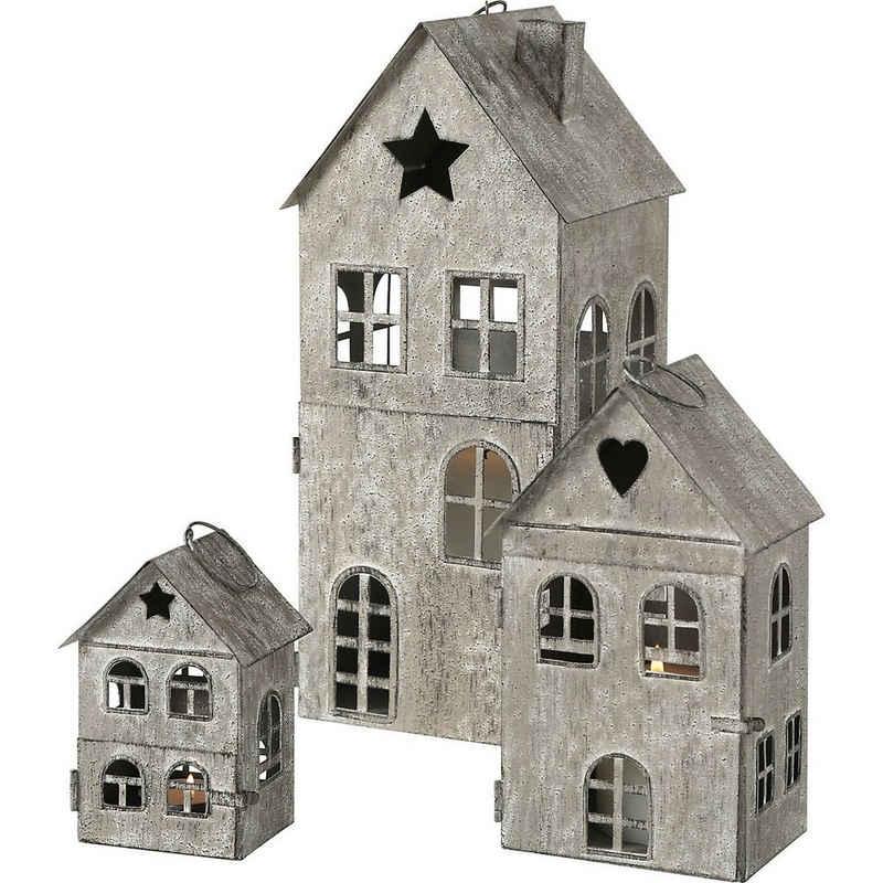 "BOLTZE Laterne »3-tlg. Set Laterne ""Haus"", Indoor, H12-34 cm,«"