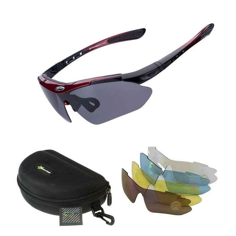 ROCKBROS Fahrradbrille »Fahrradbrille Polarisiert Sportbrille ROT Sonnenbrille Brille UV400 + ETUI + 4 Ersatzgläser«