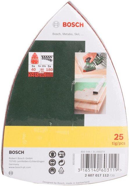 BOSCH Schleifpapier Multischleifer , 25 St , Körnung 40, 80, 120, 180