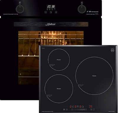 Kaiser Küchengeräte Induktions Herd-Set EH 6367+ KCT 6736 FI/4, Elektro Backofen, Autark, 79L, Selbstreinigung, Drehspieß, Einbau Backofen,10Funktionen,Pizzafunktion,Heißluftsystem, Infrarotgrill,Emaile Easy clean,Intelligent system+Induktionsherd / Autark / 3 QuickHeat Zonen alle mit PowerBooster / Sensor-Bedienung mit Funktionsdisplay /