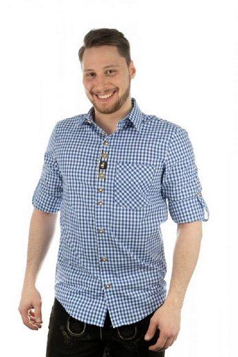 OS-Trachten Trachtenhemd »Trachtenhemd Herren bestickt, Landhausstil, Farbe mittelblau, Karo,Langarm zum Krempeln,«