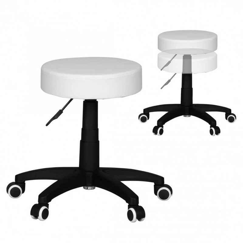 Lomadox Arbeitshocker, Hocker Kunstleder Weiß Sitzhocker mit Rollen Rollhocker gepolstert ohne Lehne XL B/H/T ca. 50/55/50cm
