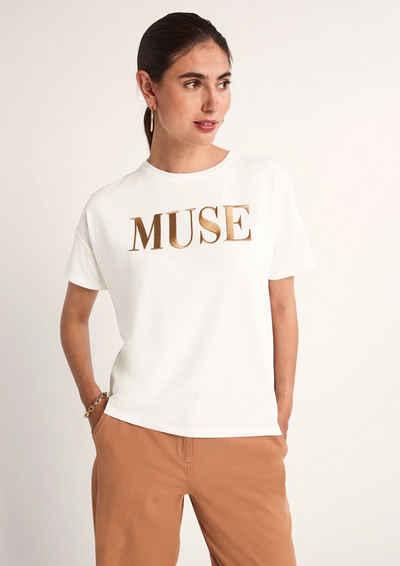 Comma Kurzarmshirt »Shirt mit gesticktem Schriftzug« (1-tlg) Stickerei