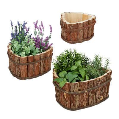 relaxdays Blumenkasten »Blumenkasten aus Holz im 3er Set«