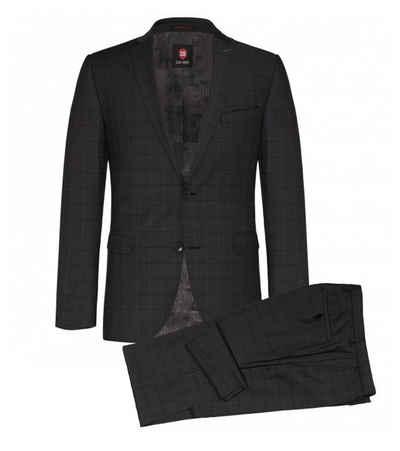 CG Club of Gents Anzug »CLUB of GENTS Anzug karierter Herren Business-Anzug Smoking Sakko Anzugs-Hose Slim-Fit Dunkelgrau«