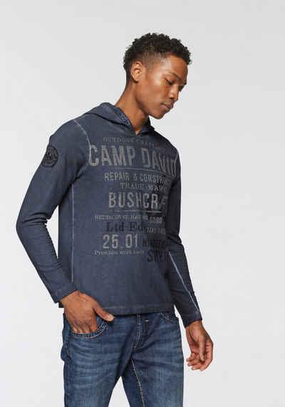 CAMP DAVID Langarmshirt mit großem Schriftprint