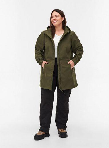 Zizzi Softshelljacke Große Größen Damen Softshell-Jacke mit Kapuze, Reißverschluss und verstellbarer Taille