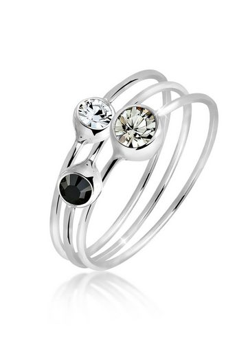 Elli Ring-Set »Stacking Zart Swarovski® Kristalle (3 tlg) Silber«, Solitär-Ring