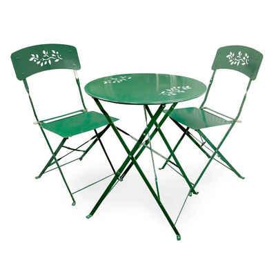 HTI-Living Gartenmöbelset »Metalltisch mit 2 Stühlen Bistro«, (3-tlg)
