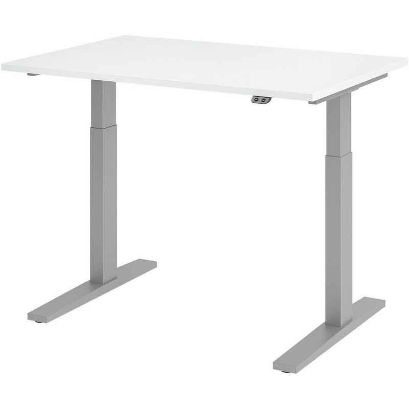 HAMMERBACHER Schreibtisch »Upper Desk«, elektrisch höhenverstellbar bis 120 cm, Gestell silberfarben