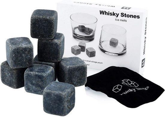 Intirilife Eiswürfelform »9 Stück wiederverwendbare Granit Eiswürfel«, Aufbewahrungsbeutel perfekt geeignet für Whisky
