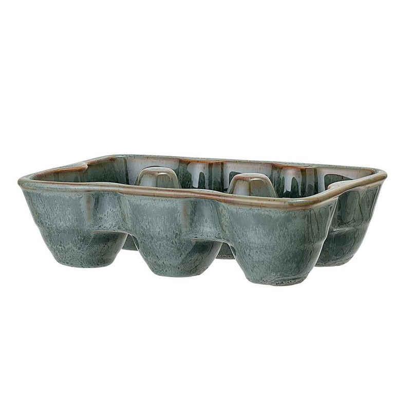Bloomingville Küchenorganizer-Set »Pixie Egg Tray, Green, Stoneware«, Küchenorganizer, Eierhalter für 6 Eier, Keramik, Eierablage, Eierbecher, dänisches Design, grün