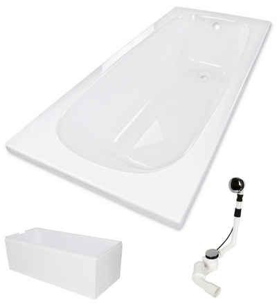 Calmwaters Badewanne, (3-tlg), Weiß, 170 x 75 cm, Acryl, 3 in 1 Komplett-Set aus Rechteckbadewanne, wärmeisolierendem Wannenträger und Ablaufgarnitur