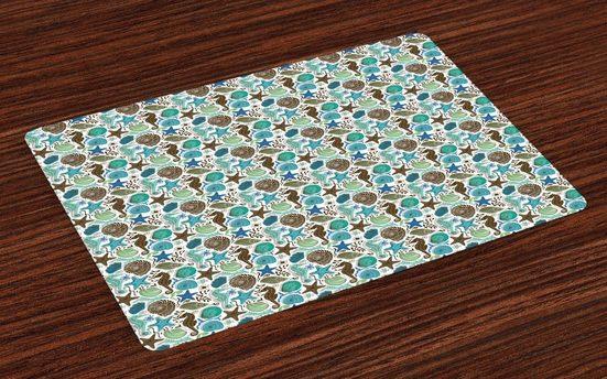Tischdecke, »Waschbare Stoff Esszimmer Küche Tischdekorations Digitaldruck«, Abakuhaus, (4-teilig, 4 Teilig-St., Set aus 4x), Sea Shells Abstrakt Maritime