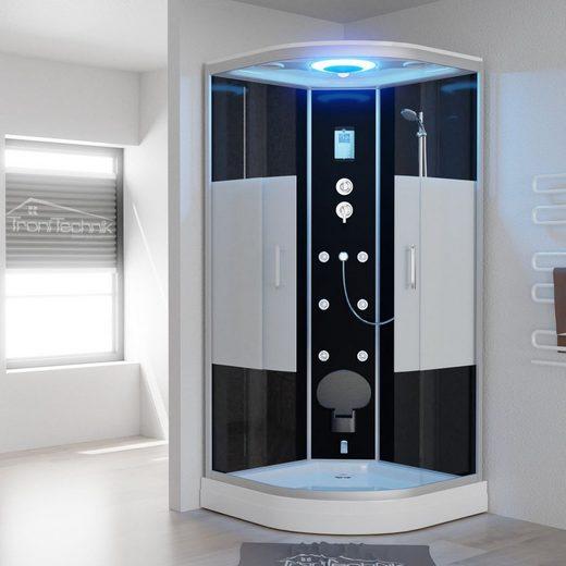 TroniTechnik Eckdusche »EASY Dampfdusche«, BxT: 90x90 cm, ESG, mit Dampfgenerator, Sitz, Massagefunktion, Touch-Steuereinheit