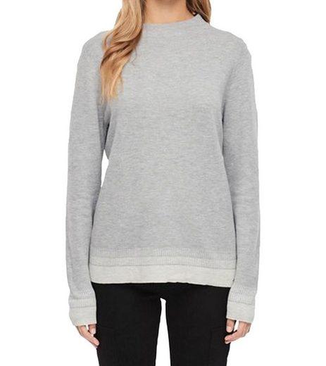 s.Oliver Rundhalspullover »s.Oliver Feinstrick-Pullover zeitloser Frauen Sweater mit Kontrastsäumen Trend-Pullover Grau«