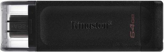 Kingston »Kingston DataTraveler DT70 (64 GB) USB-C Typ-C 3.2 Flash Drive USB Stick Externer Speicher U Disk Memory Stick schwarz« USB-Flash-Laufwerk