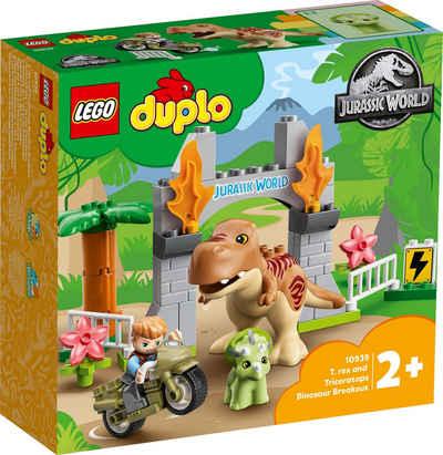 LEGO® Konstruktionsspielsteine »Ausbruch des T. rex und Triceratops (10939), LEGO® DUPLO® Jurassic World™«, (36 St)