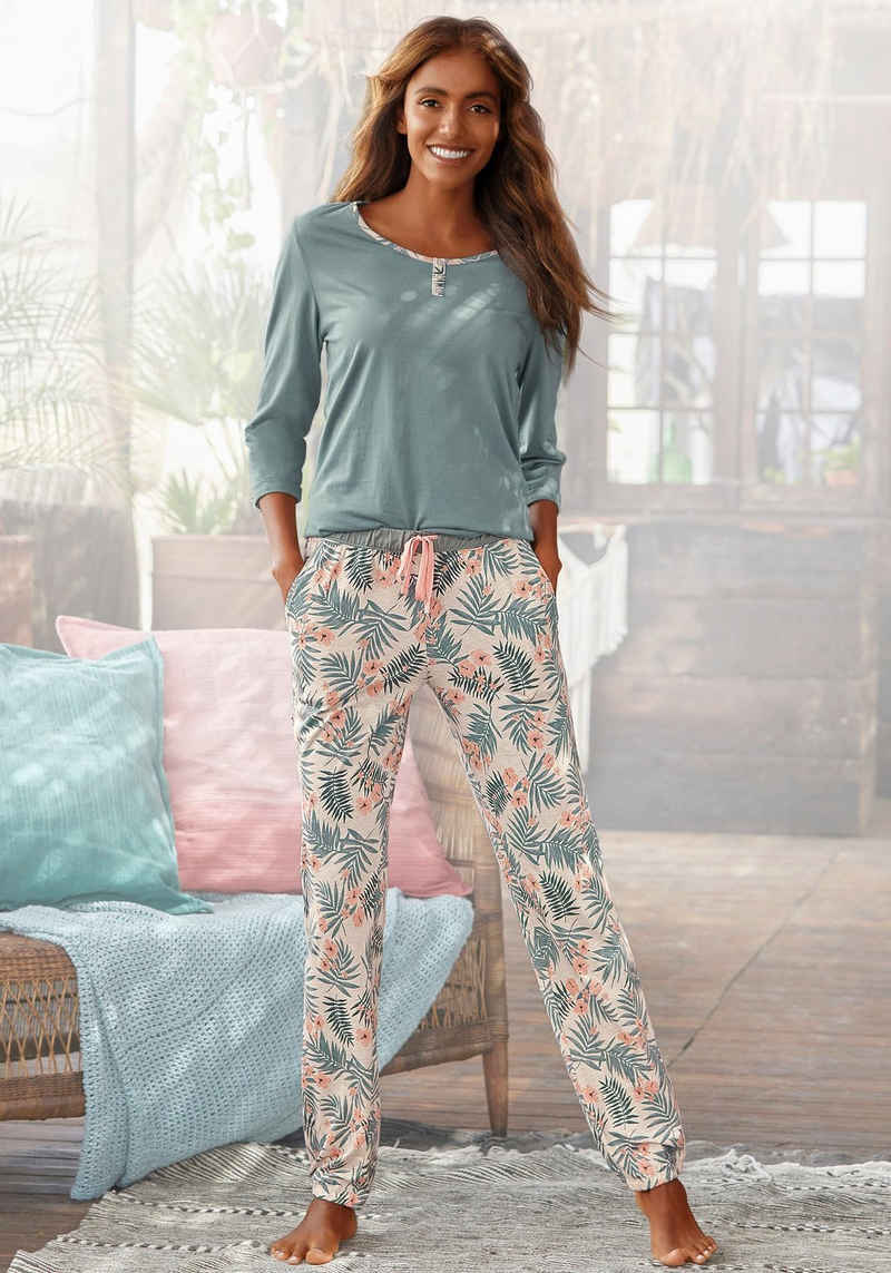 LASCANA Pyjama mit gemusterter Hose