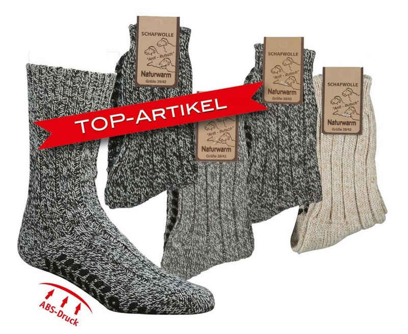 Socks 4 Fun ABS-Socken »Schafwollsocken Norweger mit ABS Anti-Rutsch Sohle« (2-Paar)